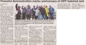 """""""Peaceful Demonstration Marks Anniversary of Botched OPP Raid"""""""