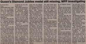 """""""Queen's Diamond Jubilee medal still missing, MPP investigating"""""""