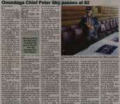 """Onondaga Chief Peter Sky passes at 82"""