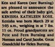 Burning, Kenisha Kathleen Rose (Birth announcement)
