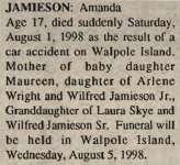 Jamieson, Amanda (Obituary)