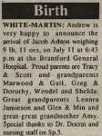 White-Martin, Jacob Ashton to White, Tracy and Martin, Scott (Born)