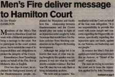 """""""Men's Fire deliver message to Hamilton Court"""""""