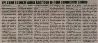 """""""SN Band council wants Enbridge to hold community update"""""""