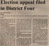 """""""Election Appeal Filed In District Four"""""""