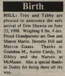 Hill, Erin Shawna to Hill, Troy and Hill, Tabby (Born)