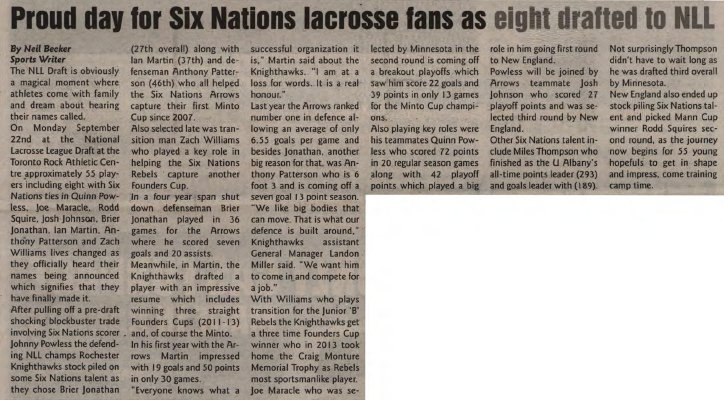 Proud day for Six Nations lacrosse fans as eight drafted to