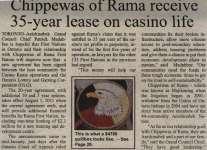 """Chippewas of Rama receive 35-year lease on casino life"""