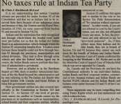 """No taxes rule at Indian Tea Party"""