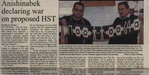 """Anishinabek declaring war on proposed HST"""
