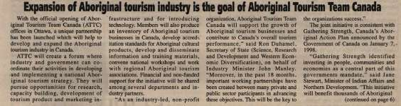 """Expansion of Aboriginal tourism is the goal of Aboriginal Tourism Team Canada"""