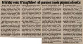 """Initial step toward Mi'kmaq/Maliseet self government in social programs and services"""
