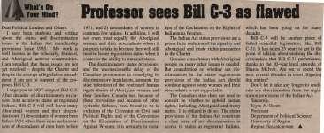 """""""Professor sees Bill C-3 as flawed"""""""