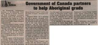 """Government of Canada partners to help Aboriginal grads"""