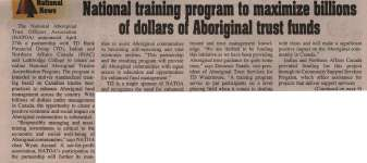 """National training program to maximize billions of dollars of Aboriginal trust funds"""