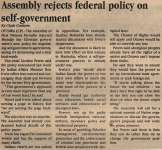 """Assembly Rejects Federal Policy on Self-Government"""