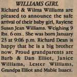 Williams, Raylene Susan Jean to Williams, Richard and Williams, Wilma (Born)