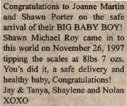 Porter, Shawn Michael Roy to Martin, Joanne and Porter, Shawn (Born)