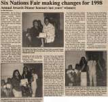 """""""Six Nations Fair making changes for 1998 - Annual Awards Dinner honours last years' winners"""""""