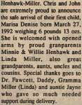 Henhawk-Miller, Marisa Denise to Henhawk, Chris and Miller, John (Born)