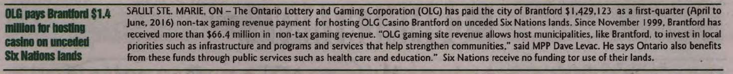 """OLG pays Brantford $1.4 million for hosting casino on unceded Six Nations lands"""