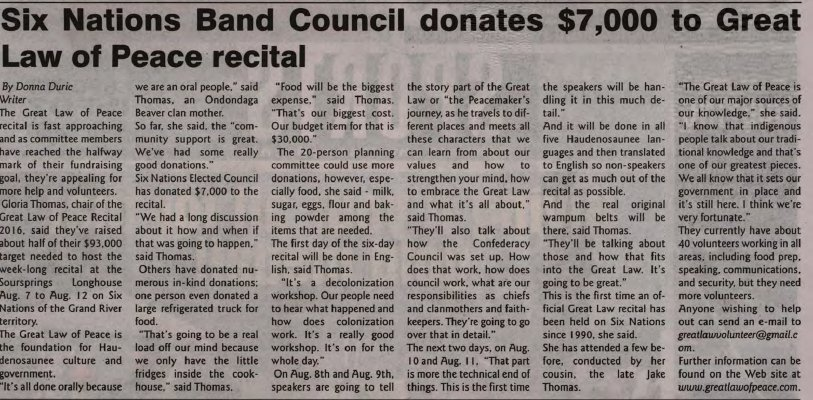 """Six Nations Band Council donates $7,000 to Great Law of Peace recital"""