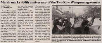 """March marks 400th anniversary of the Two Row Wampum agreement"""