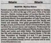 Martin, Marion Eldora (Died)