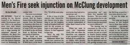 """Men's Fire seek injunction on McClung development"""