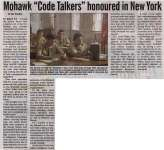 """Mohawk 'Code Talkers' honoured in New York"""