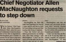 """Chief Negotiator Allen MacNaughton requests to step down"""