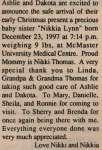 Thomas, Nikkia Lynn to Thomas, Nikki (Born)