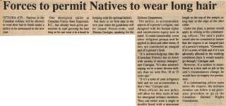 """""""Forces to permit Natives to wear long hair"""""""