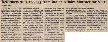 """""""Reformers seek apology from Indian Affairs Minister for 'slur'"""""""