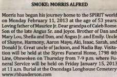 Smoke, Morris Alfred (Died)