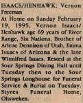 Isaacs-Henhawk, Vernon Freeman (Died)