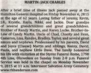 Martin, Jack Charles (Died)