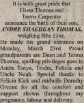 Thomas, Andre Shaedean