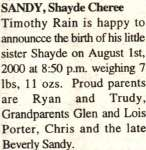 Sandy, Shayde Cheree