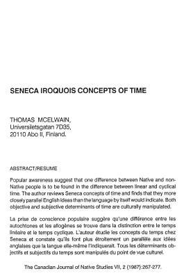 Seneca Iroquois Concepts of Time
