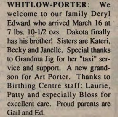 Porter, Deryl Edward to Porter, Ed and Whitlow, Gail (Born)