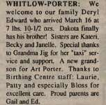 Porter, Deryl Edward to Porter, Ed and Whitlow, Gail (Born)