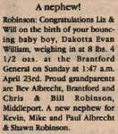 Robinson, Dakotta Evan William to Robinson, Will and Robinson, Liz (Born)