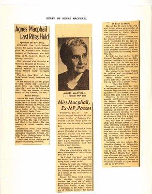 Death of Agnes Macphail