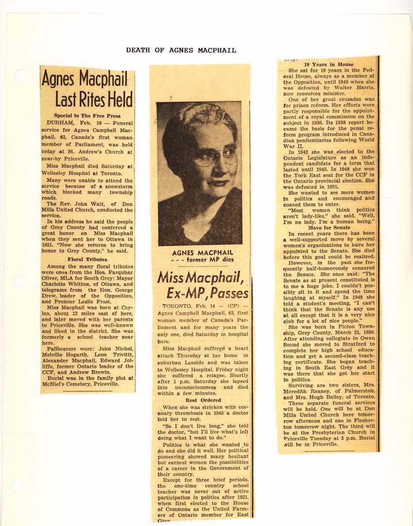 "2 articles from 1954: ""Agnes Macphail last rites held"" and ""Miss Macphail, ex-MPP Passes."" Courtesy the South Grey Museum."