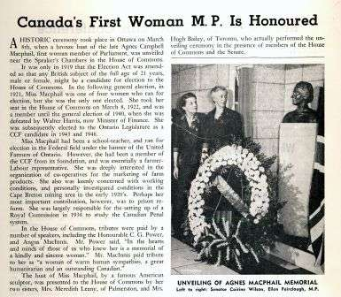 Canada's First Woman M.P. is Honoured