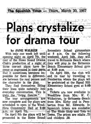 Plans crystalize for drama tour