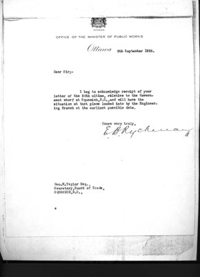 Letter to G.M. Taylor, Secretary, Squamish Board of Trade from Minister of Public Works. Re: Government Wharf.