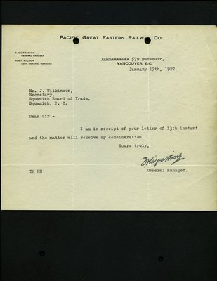 Letter to J. Wilkinson, Secretary, Squamish Board of Trade from General Manager, Pacific Great Eastern Railway RE: New highway