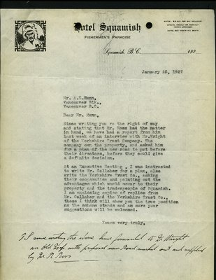 Letter to A.E. Munn, Squamish Board of Trade from Hotel Squamish. RE: New Highway